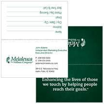 Melaleuca Business Cards Tent Style Green Mission Statement Thumbnail